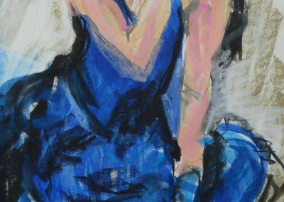 `Blaue Frau`, Pastell, 0,8 x 0,6 m
