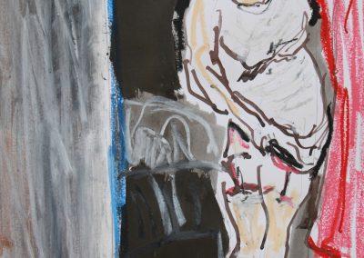 `Frau in Strapsen`, Mischtechnik, 0,6 x 0, 4 m
