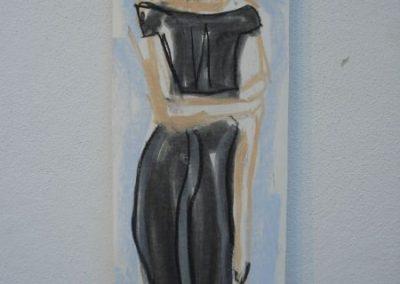 Frau mit Pistole, 78 x 25 cm, Pastell