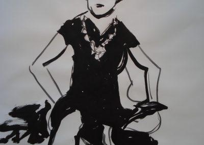 `Sitzende Frau`, Mischtechnik, 2 x 1,5 m