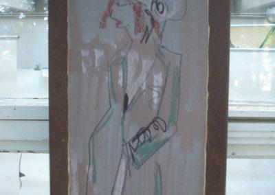 Gedruckte Handzeichnung auf Cortenstahl, 80 x 40 cm, Verfahren ist als Patent angemeldet